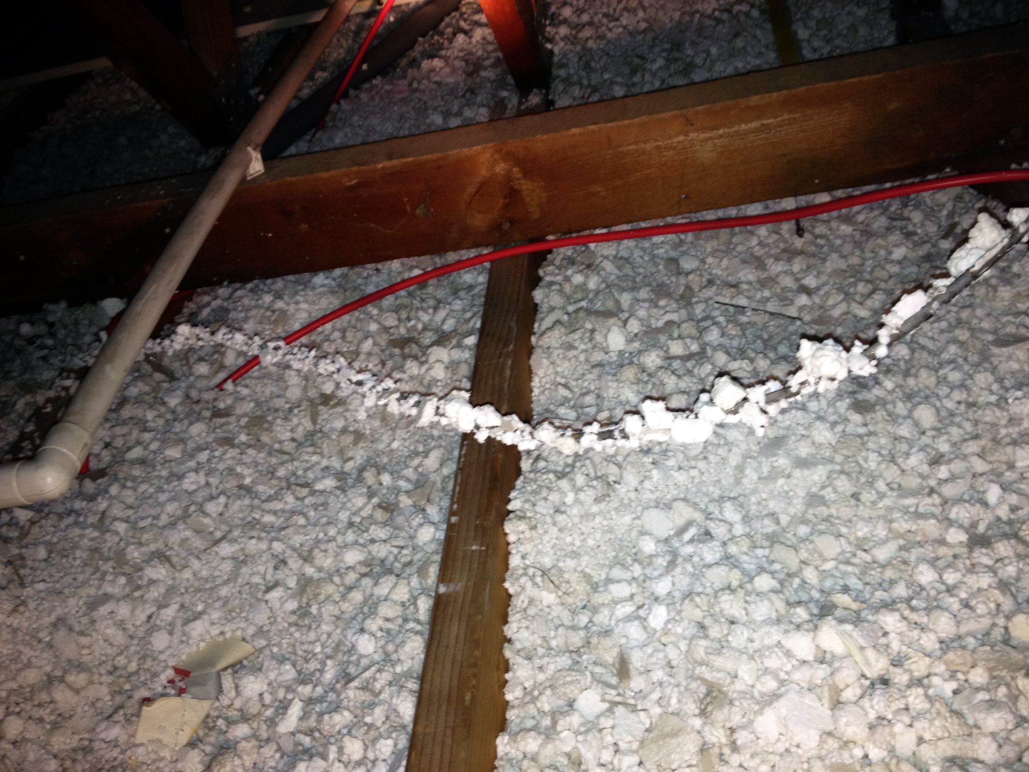 Polystyrene melting to cables